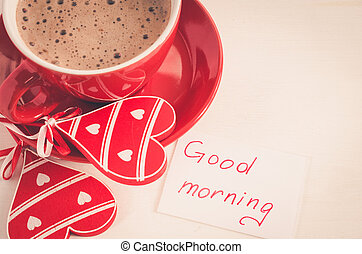 Good Morning From Heart Lovely Coffee Decoration Wooden Table
