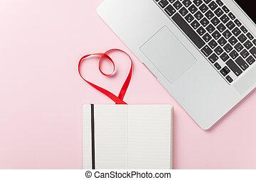 cappuccino, och, anteckna, nära, laptop