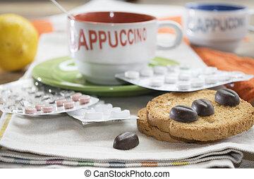 cappuccino, og, blist, pillerne