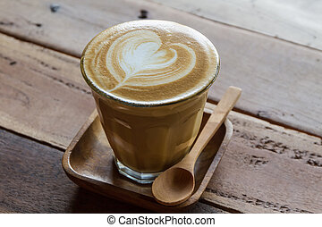 Cappuccino or latte coffee . - Cappuccino or latte coffee at...