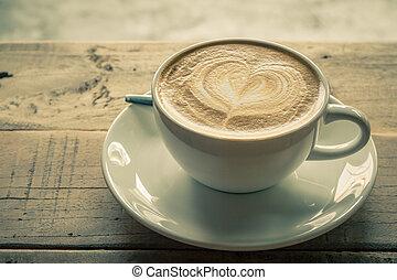 cappuccino, ou, latte, café, .