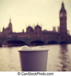 cappuccino, River Thames and the Big Ben in London, UK, with a f