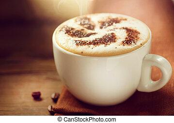 cappuccino., taza, de, capuchino, o, latte, café