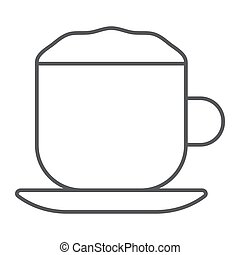 Cappuccino thin line icon, coffee and cafe, cup sign vector graphics, a linear pattern on a white background, eps 10.