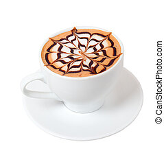 cappuccino time.late coffee with chocolate.isolated on white...
