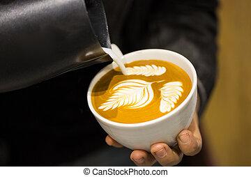 cappuccino, und, latte, kunst