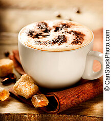 cappuccino., xícara café, cappuccino