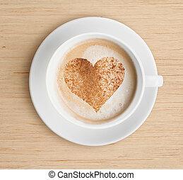 cappuccino, xícara café, com, espuma, e, forma coração