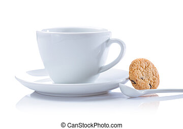 cappuchino cup and cookie isolated
