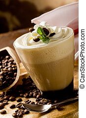Cappucino with whipped cream - photo of delicious coffee...