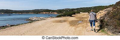 caprera, 島, 女性の歩くこと
