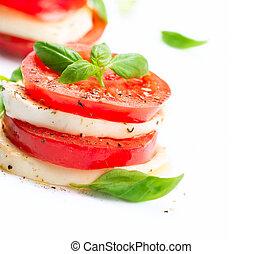 caprese, salad., tomate, y, mozzarella, rebanadas, con, albahaca, hojas