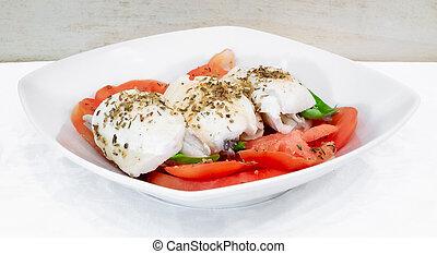Caprese salad with marinated sardines. Ingredients: tomatoes...
