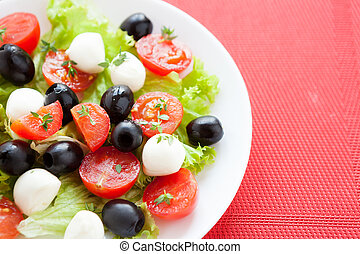 Caprese salad with tomato and mozzarella cheese on a white plate, closeup
