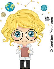 capretto, astronomo, ragazza, illustrazione