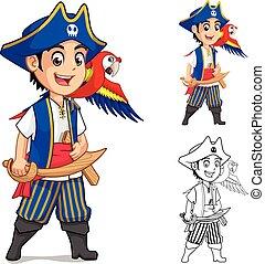 capretto, carattere, cartone animato, pirata