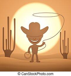capretto, cowboy, roteare, laccio