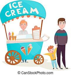 capretto, crema, cartone animato, ghiaccio, venditore