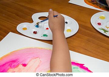 capretto, fare, colorito, pittura