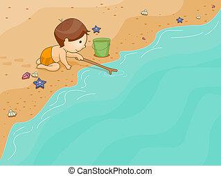 capretto, giocando spiaggia