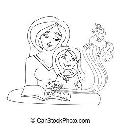 capretto, libro, mamma, lei, lettura