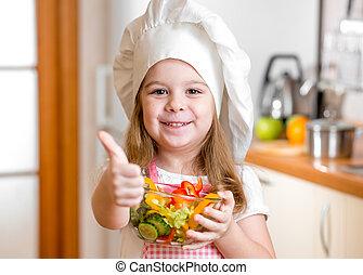 capretto, ragazza, con, cibo sano, e, esposizione, pollice