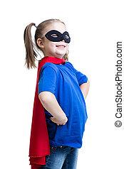 capretto, ragazza, vestito, come, superuomo, o, superhero