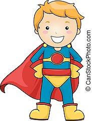 capretto, ragazzo, superhero, costume, atteggiarsi