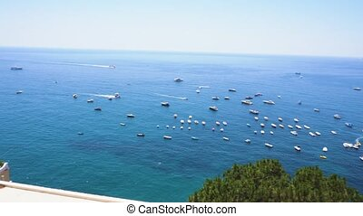 Capri island, Italy - Tyrrhenian Sea coast near Positano,...