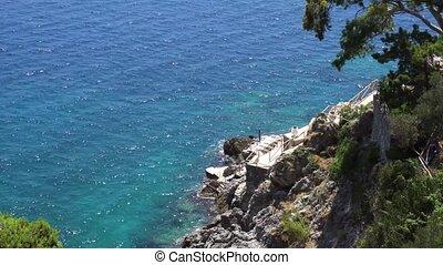Capri island, Italy - Tyrrhenian Sea coast view , Amalfitana...