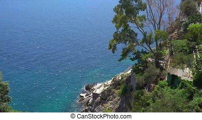 Capri island, Italy - Tyrrhenian Sea summer coast view,...