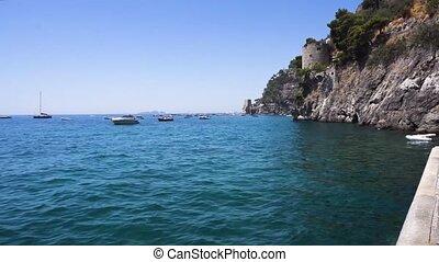 Capri island, Italy - Tyrrhenian Sea waters near Positano,...
