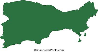 Capri silhouette map