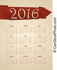 capriccio, calendario, con, nastro, per, anno, 2016