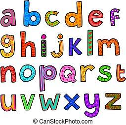 capriccioso, alfabeto, minuscolo