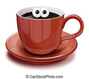 capriccioso, caffè, cartone animato, tazza