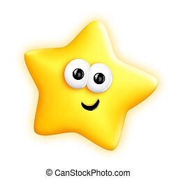 capriccioso, carino, stella, cartone animato