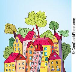 capriccioso, città, albero, case