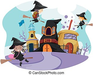 capriccioso, scuola, mago, stickman, bambini