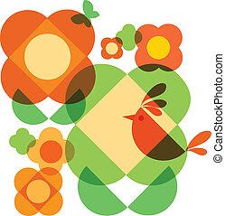 capricho, flor, árbol, y, pájaro