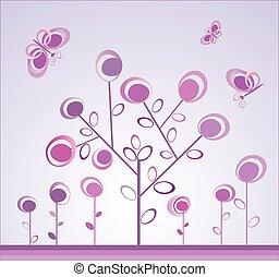 caprichoso, borboletas, árvore