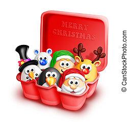 caprichoso, cartón, huevo, navidad