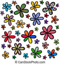 caprichoso, garabato, floral, plano de fondo, diseño