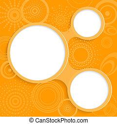 caprichoso, informação, elementos, fundo, laranja, redondo