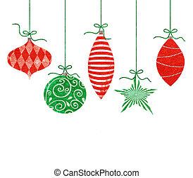 caprichoso, ornamentos de navidad, ahorcadura