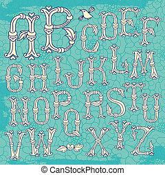 capricieux, dessiné, main, lettres, alphabet