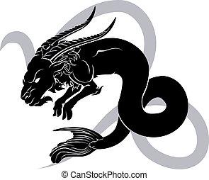capricorn, 黄道帯, 星占い, 占星術の 印