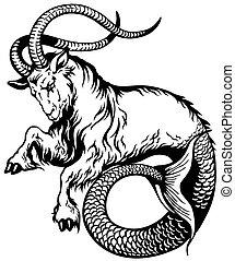capricorn black white - capricorn astrological zodiac sign,...