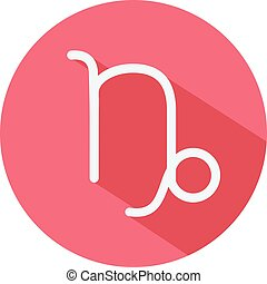 Capricorn. Classic Astrological Zodiac Sign. Vector icon in Flat Style with Long Shadow