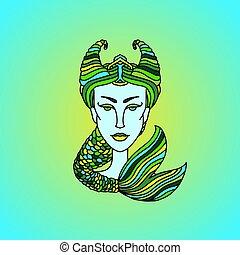 Capricorn girl portrait. Zodiac sign. Green and yellow vector illustration.